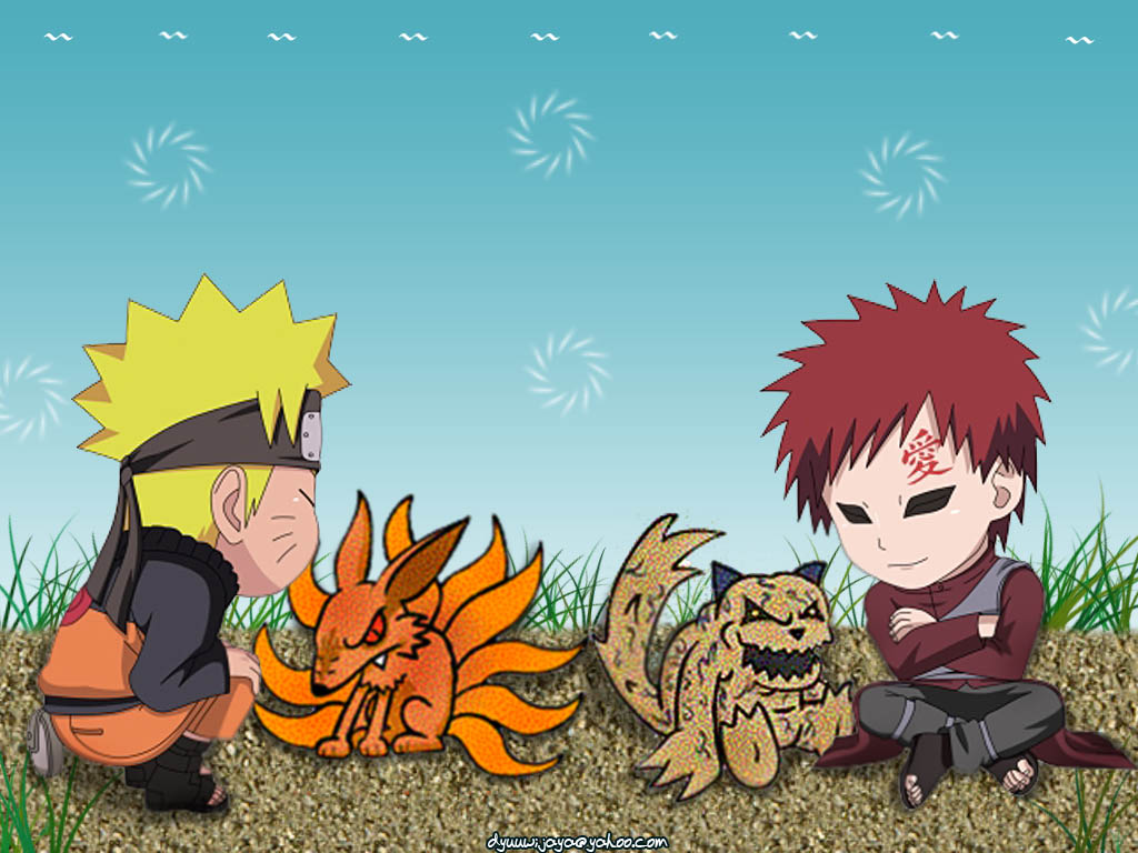 Naruto and Gaara Chibi Wallpaper Desktop HD (1024 x 768 )
