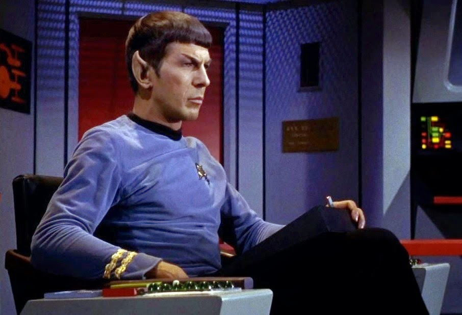 spock on  bridge of the enterprise, commanding