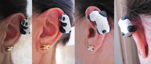 Climbing panda ear cuff