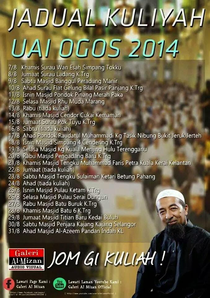 Jadual Kuliah Ustaz Azhar Idrus Ogos 2014