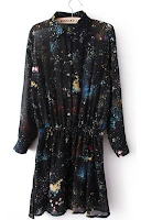 Black Long Sleeve Galaxy Print Dress