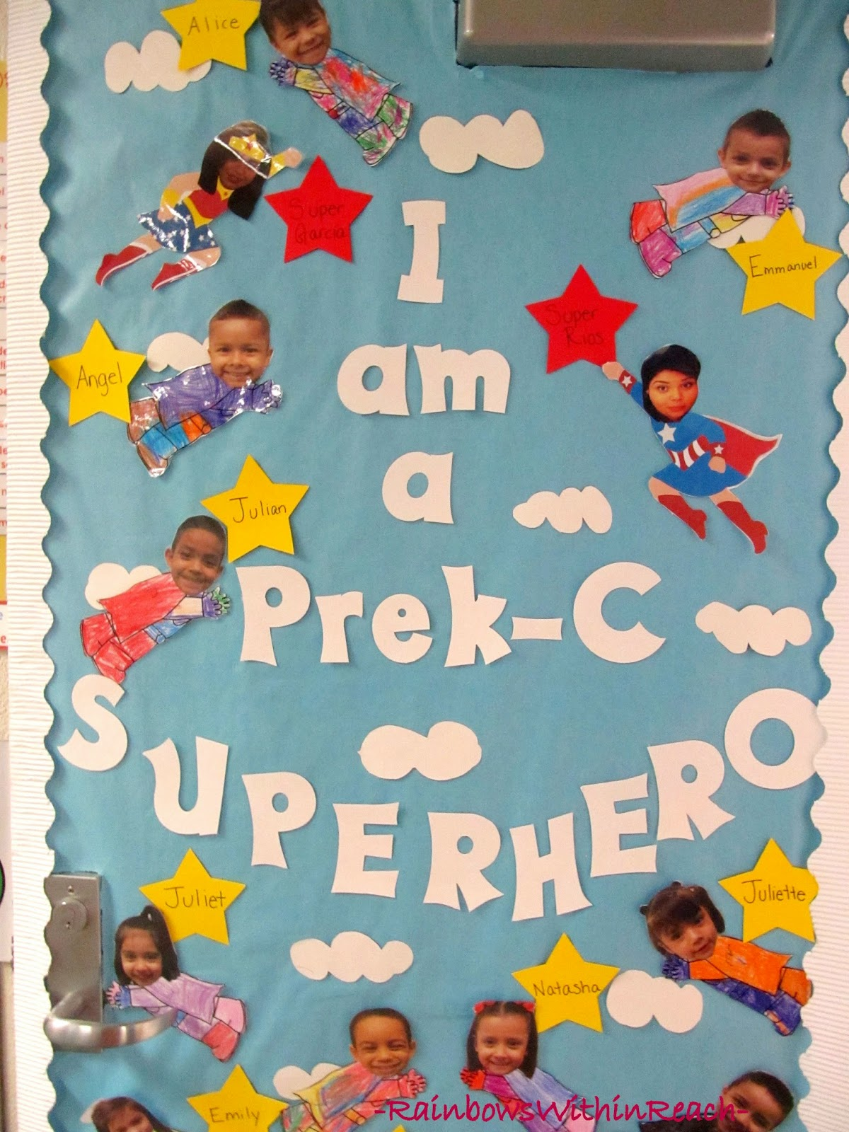 Super Hero Decorated Door for Preschool via RainbowsWithinReach