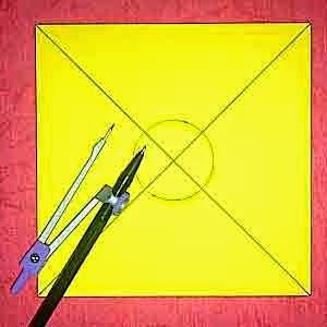 jangka diperlukan untuk membuat lingkaran sebagai tempat menyatukan kedua helaian kertas