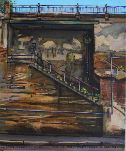 plein air oil painting of Hickson Road Millers Point by industrial heritage artist Jane Bennett