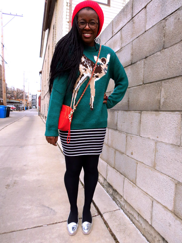 animal motif sweater, senegalese twists