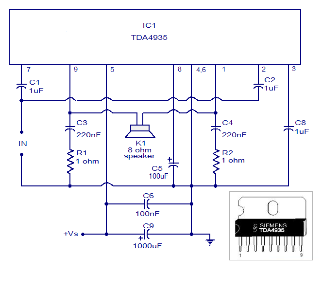 TDA4935 Bridge Amplifier Circuit