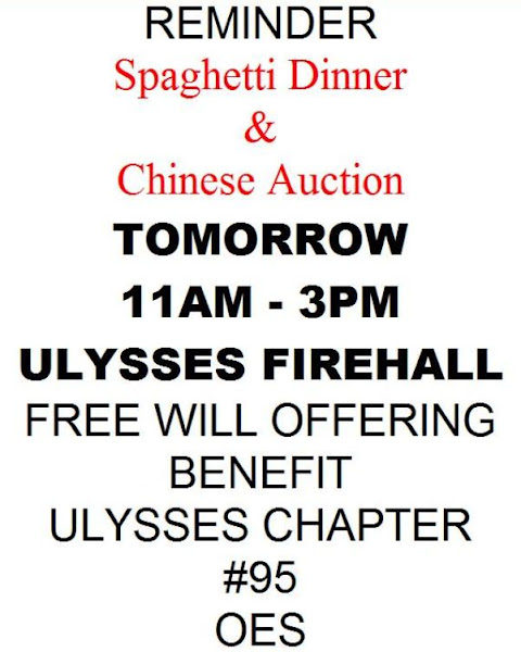 Spaghetti Dinner Chinese Auction At Ulysses Firehall On Sunday