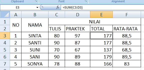 Rumus Total Dan Rata-Rata DI Ms Office Excel 2007