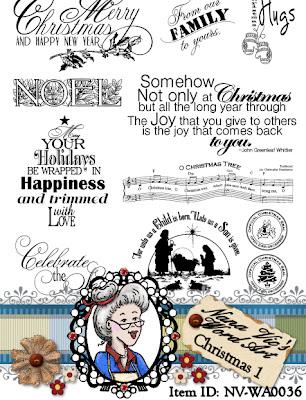Christmas word art digital stamp set