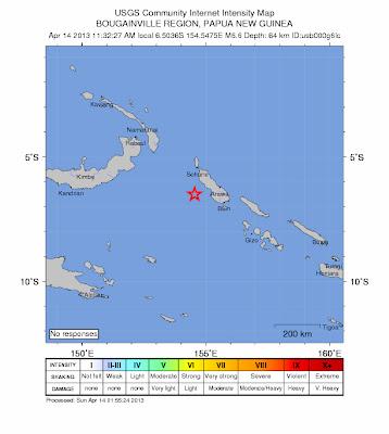 Epicentro terremoto 6,6 grados, Papúa Nueva Guinea, 14 de Abril de 2013