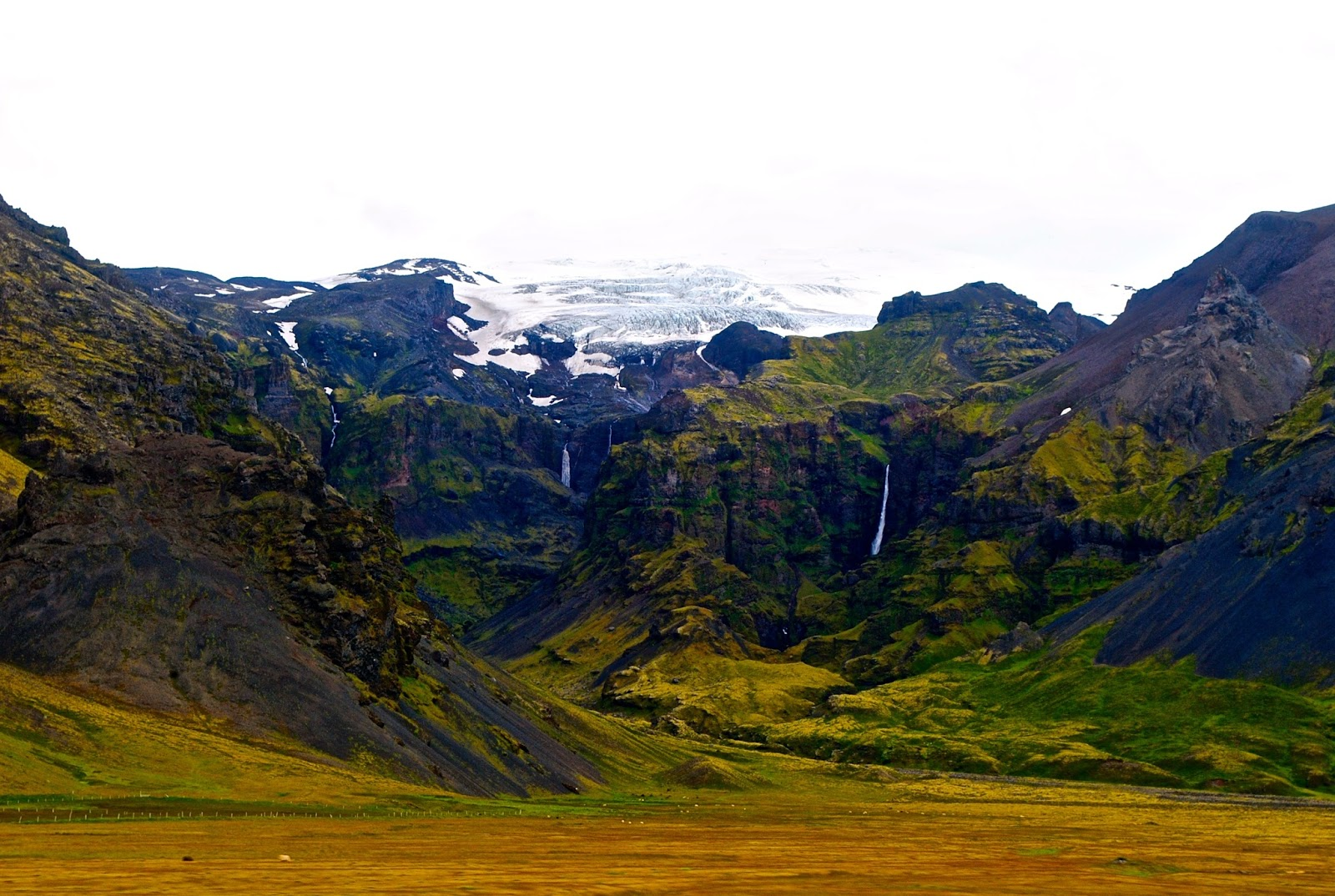 Waterfalls and glaciers along ring road in Iceland