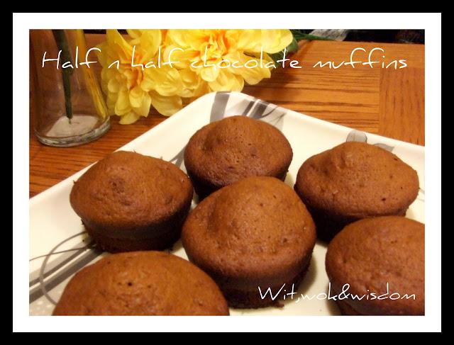 half n half chocolate muffins