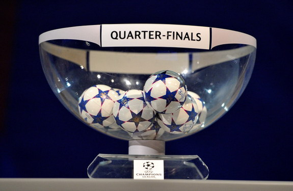 The draw balls are displayed during the Champions League quarter finals draw