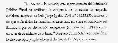 El pedido de indagatoria que Spahn niega.