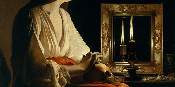 Fragment obrazu Maria Magdalena pokutująca, autor - Georges de La Tour
