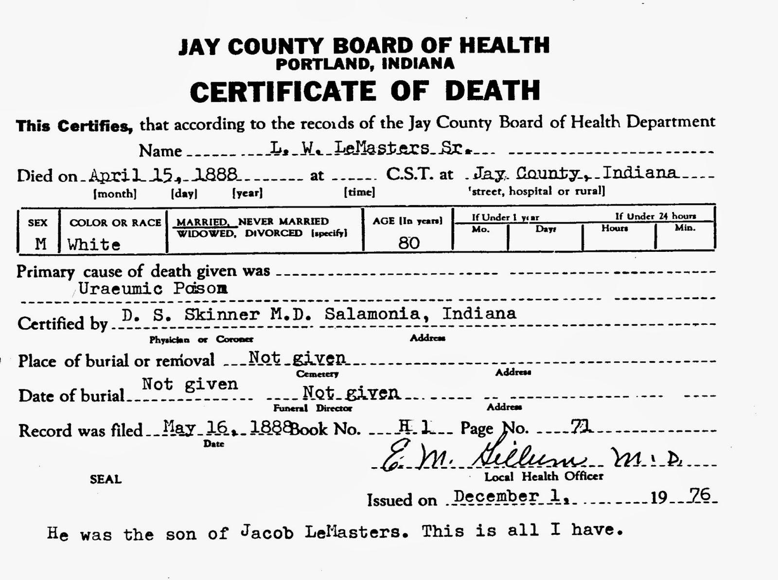 Death Certificate Luman Walker Lemasters Sr 1808 1888 Jay