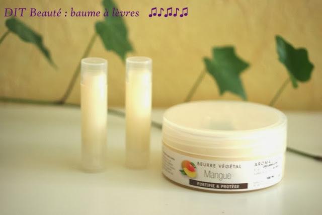 recette baume à lèvres maison beurre de mangue , beurre de karité, huile de ricin