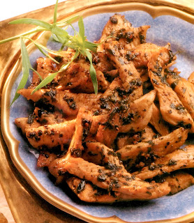Tarragon turkey: strips of turkey breast coated in a tarragon, black pepper and white wine mix