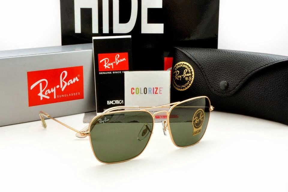 Ray Ban - Caravan RB3415 Gold Frame, Dark Green G15 Lens | Caravan, Original Grade, High Quality, Sunglasses, Malaysia