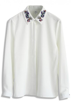 beads Embellished Collar White Shirt Chicwish
