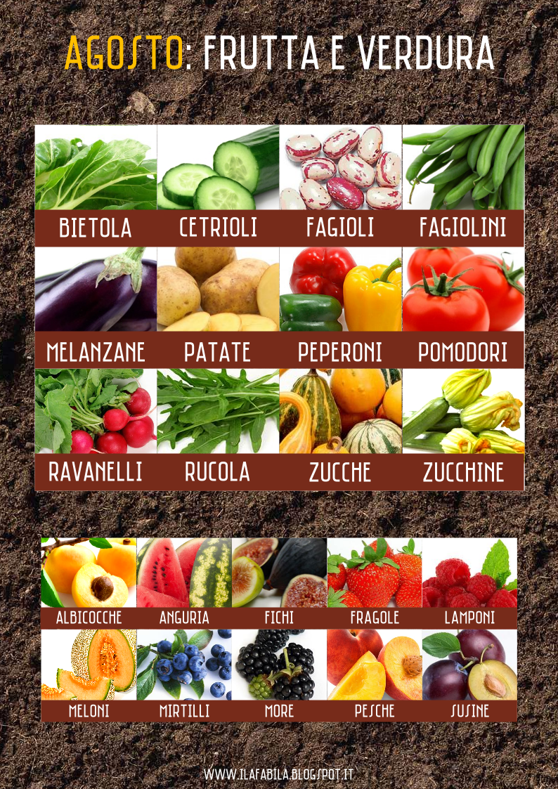 Agosto: frutta e verdura di stagione