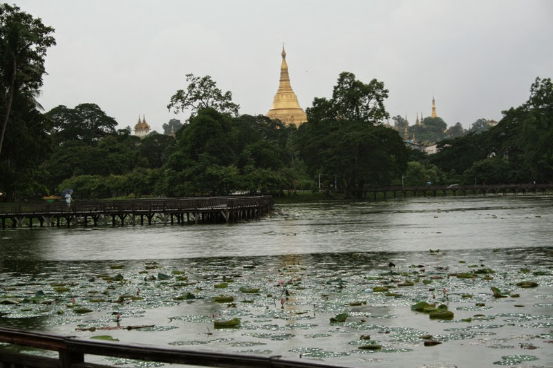View of Shwedagon Paya from Kandawgyi Lake