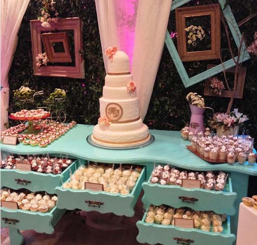 mesa romntica y vintage como candy bar