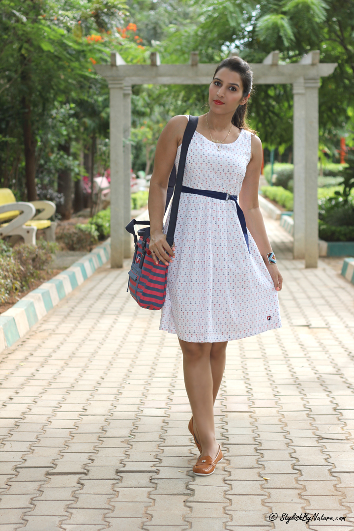 Printed Dress, Affordable Dress, Stripes Bag, Canvas Bag, Sun Dress