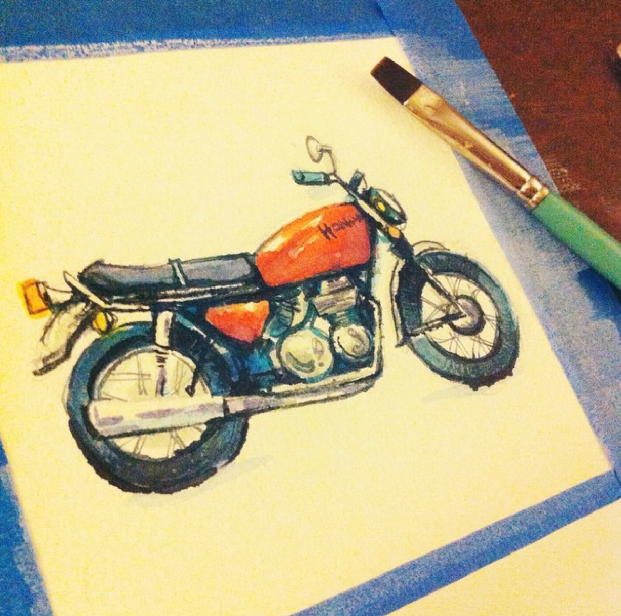 cafe racer motorcycle watercolor illustration j shari ewing