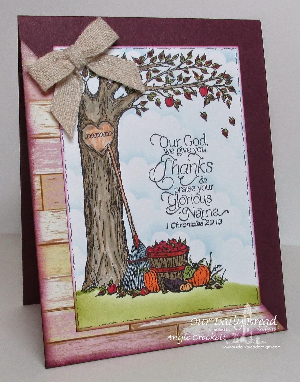 ODBD Autumn Tree, Thank You, Ornate Border Sentiments, Rustic Beauty Designer Paper, Card Designer Angie Crockett