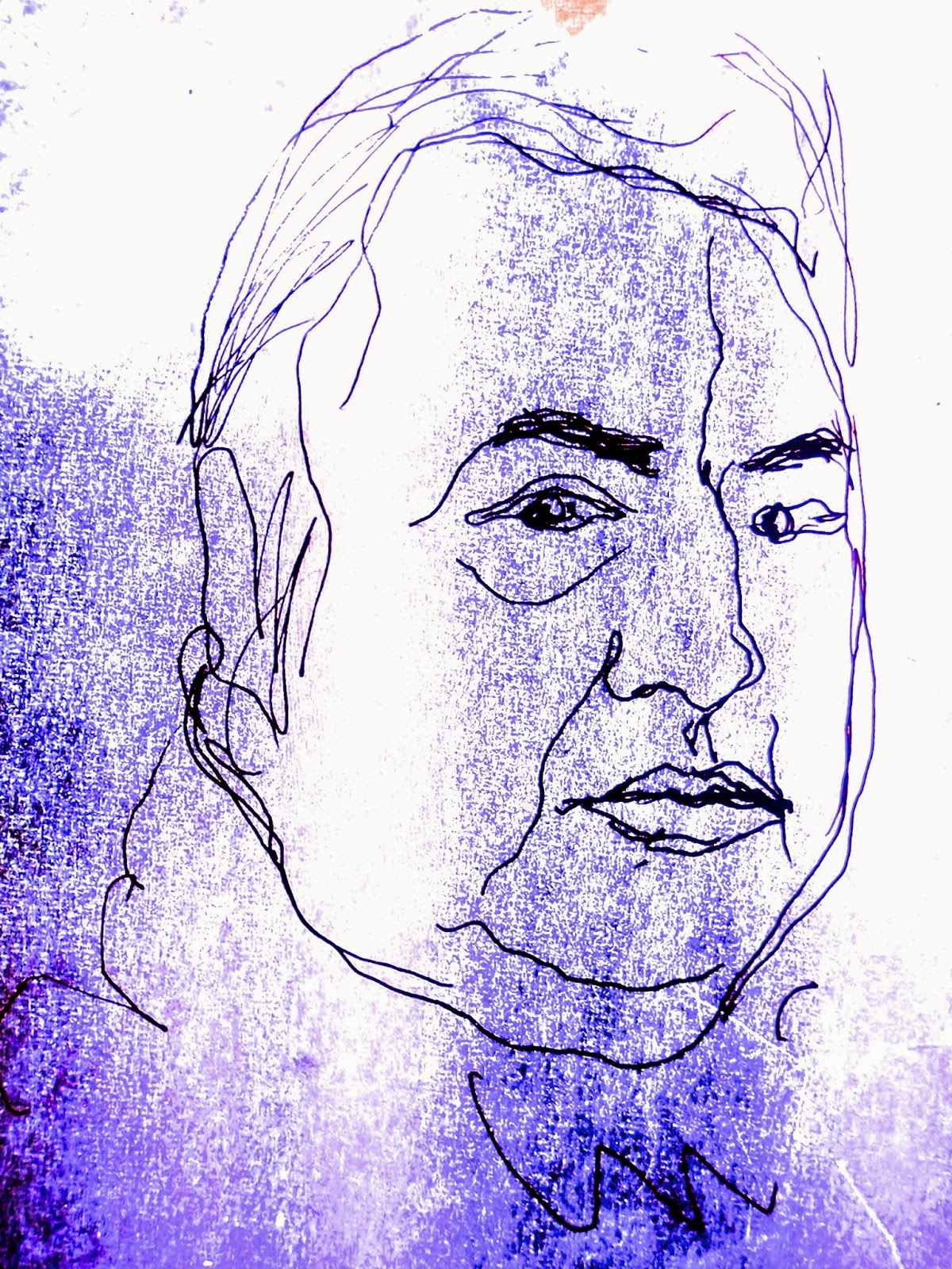 Portrait de l'humoriste Raymond Devos, dessin au trait noir sur fond parme, blanc..