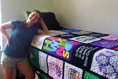 college dorm t-shirt quilt