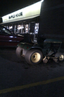 john deere parked at waffle house