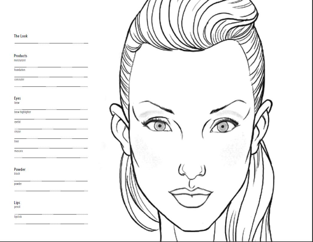 Blank face makeup template face charts
