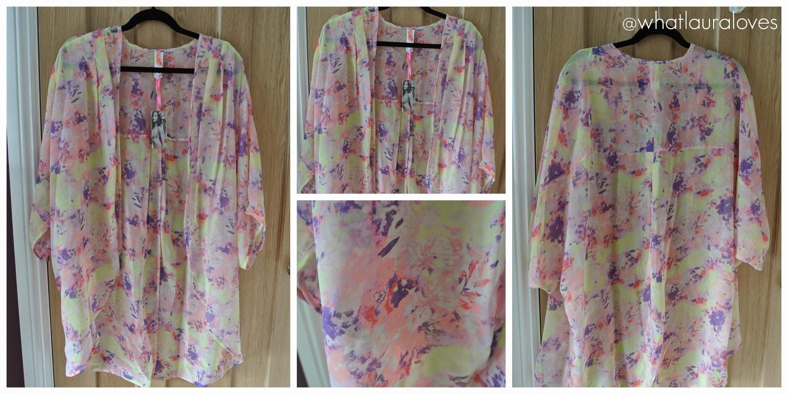 Colourful pastel muted neon kimono Primark