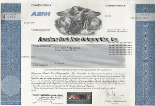 share of the American Bank Note Holographics company with hologram