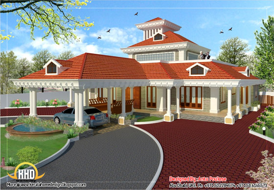Kerala style traditional house  - 3350 Sq. Ft. (311 Sq. M.) (372 Square Yards) - March 2012