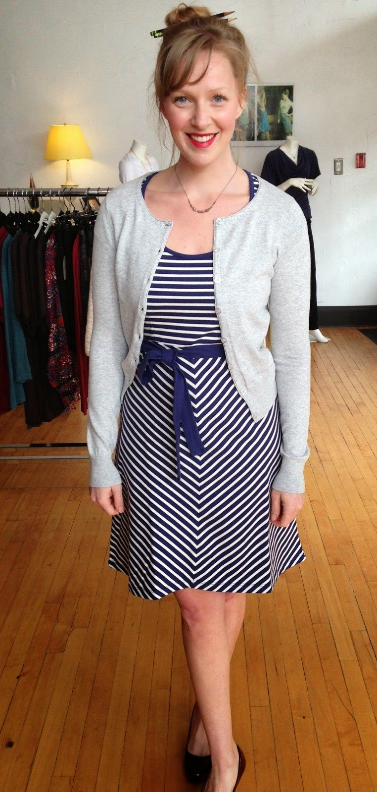 Ella dress by Louie et Lucie, Kersh cardi, and Amy Olson necklace at Folly