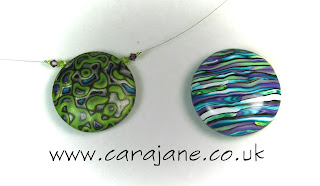 Cara Jane Metallic Mokume Lentil beads side 2 - one mokume and the other stroppel