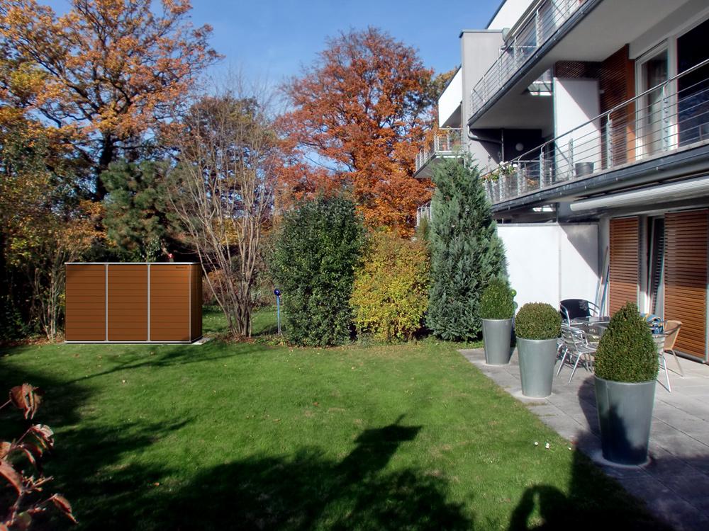 Garten[Q] :: Moderne Gartenhäuser, Gartenschränke, Müllboxen Und Unterstände.:  Das Geteilte Gartenhaus :: Sichtschutz Mit Stauraum