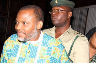 Nnamdi Kanu All Smiles As He Steps Out In Traditional In Outfit At Court Session Today (Photos)