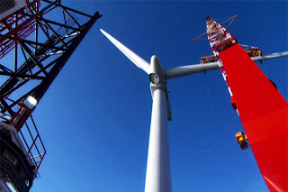 Offshore windfarm under construction in North Sea
