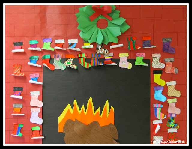 photo of: Blazing Fireplace with Christmas Stockings Bulletin Board (Christmas Time Bulletin Board RoundUP via RainbowsWithinReach)
