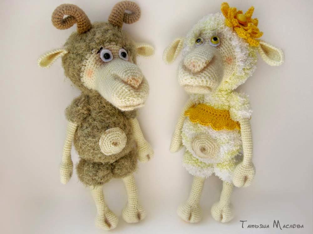 барашек и овечка  крючком, схемы амигуруми