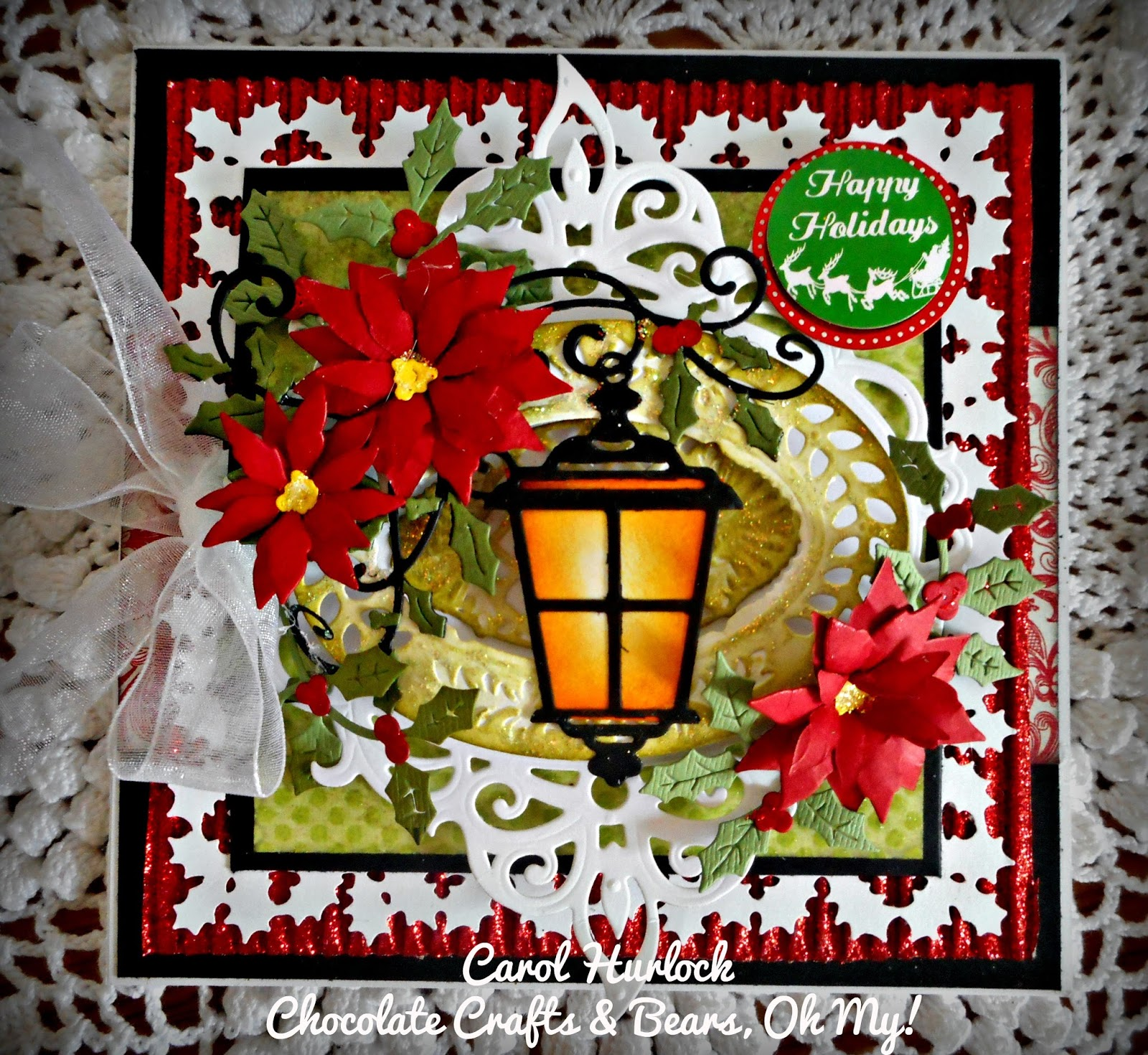 Chocolate crafts and bears oh my cottage cutz christmas lantern card the little sentiment is a stick from michaels that i had in my stash for a while thanks so much for stopping by today sure do appreciate it mightylinksfo