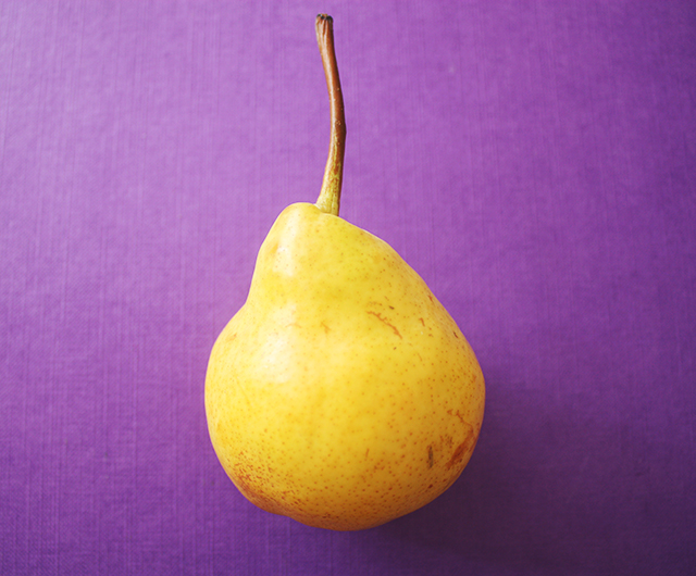 pear on purple background