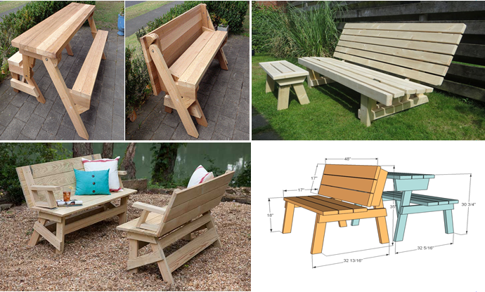 How To Build Convertible Picnic Table To Bench, DIY Woodworking Picnic Table  To Bench Plans