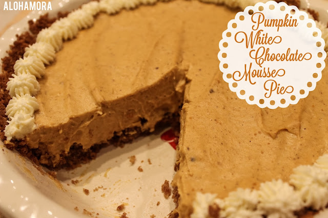 Pumpkin White Chocolate Mousse Pie is an easy (mostly no-bake) light and creamy pumpkin pie with a rich flavorful graham cracker crust. Alohamora Open a Book recipe, dessert, pie, Thanksgiving, classic pumpkin pie with a twist