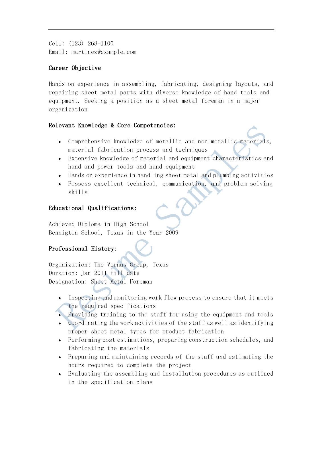 Resume Samples: Sheet Metal Foreman Resume