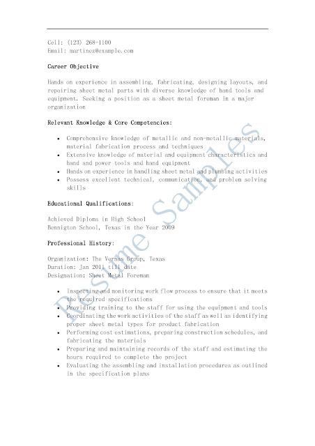 Roofing foreman resume sample